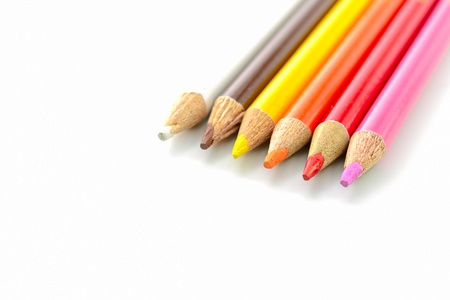 use old pencil color on white background isolated