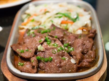 beef barbecue stir fry in soy sauce japanese food photo