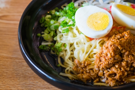 noodle with spicy ground pork sauce japanese food style Stock Photo