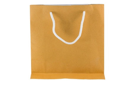 brown paper bag on white background isolated