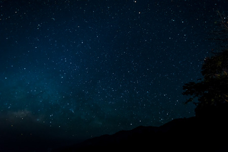Starfield in night sky with milkyway high iso photo