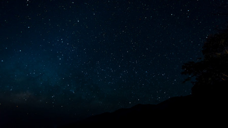 Starfield in night sky with milkyway high iso Stock Photo