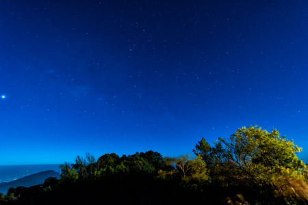 Starry in blue sky night time scene with milky way high iso photo
