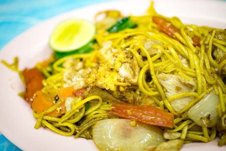 fried noodle with egg vegetable and pork Thai food