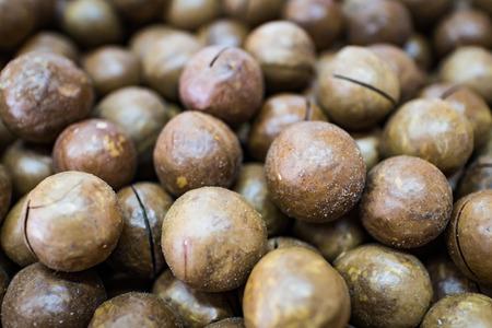 closeup macadamia nuts with nature light