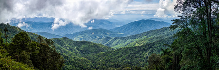 panorama of landscape mountain view forest of thailand in daylight time with cloudy in sky