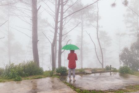 vrouw dragen rode jas open een groene paraplu weer terug met mist en mistig in rainingday