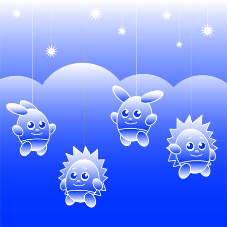 Fabulous toy bunnies and hedgehogs hang on strings against a background of clouds and a starry sky. Vector illustration Standard-Bild - 130952171