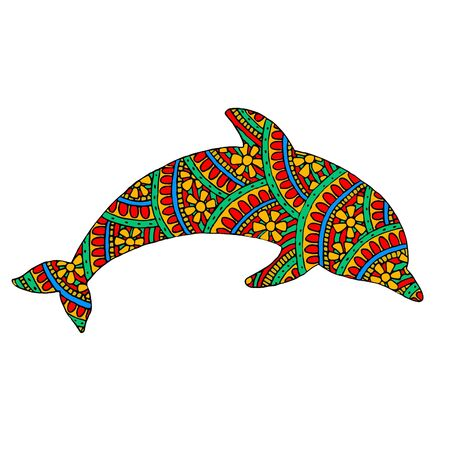 Painted dolphin in multi-colored patterns. White background