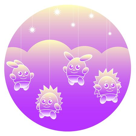 Fabulous toy bunnies and hedgehogs hang on strings against a background of clouds and a starry sky. Vector illustration in the form of a circle. Standard-Bild - 132409420