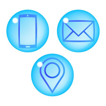 Set of three icons in the form of blue drops of water. Phone, email, location. Vector illustration.