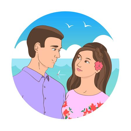 Painted beautiful brunette guy and girl tenderly look at each other. Blue sea resort background.