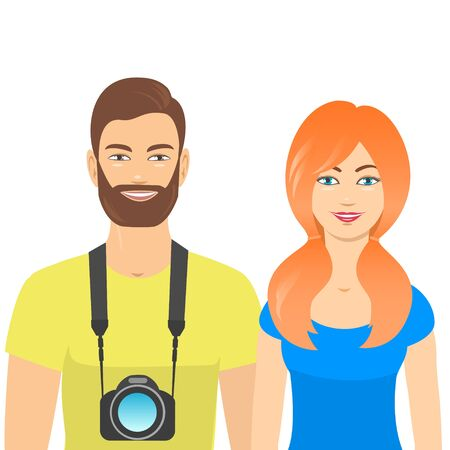 Young happy man and woman in travel with a camera. Vector illustration with isolated background.