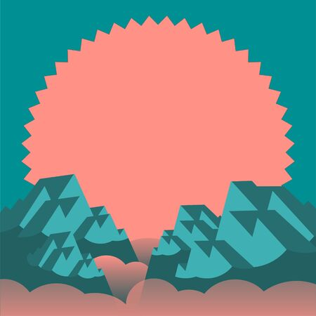 Rocky mountains in the fog against the background of the red sun. Vector illustration in logo style.