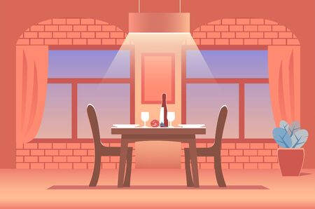 The interior of a cozy restaurant in warm colors. In the middle of tables for two with a bottle of wine, glasses and a rose. On top of the lamp. Vector illustration. Illusztráció