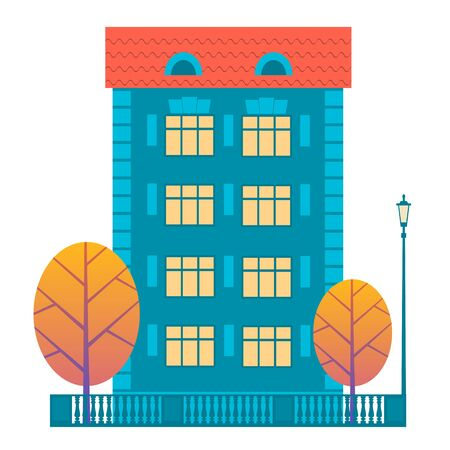 Part of the autumn city: a building with four floors, yellow trees and a street lamp. Vector colorful flat illustration for design.