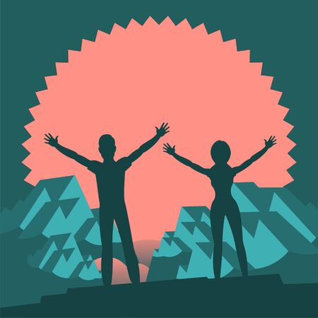 Silhouettes of people. A man and a woman stand on top and triumphantly raise their hands up. In the background are snowy mountains and red sun. Vector flat illustration for logo or background. Çizim