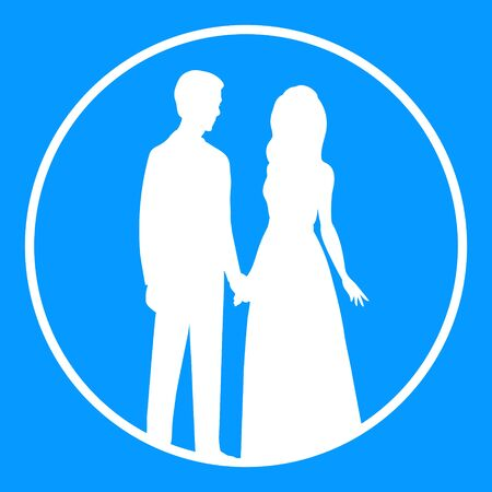 White silhouette of a bride and groom in a round frame on a blue background. Newlyweds hold hands. Vector wedding illustration.