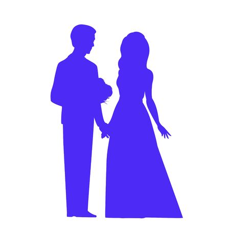 Silhouette of a bride and groom in blue. They hold hands, he gives the girl a bouquet of flowers. Vector illustration for a wedding on an isolated background.