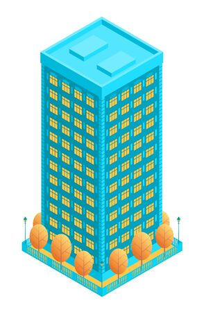 Tall blue residential building with floors. It is surrounded by autumn yellow trees and a fence with street lamps. Vector illustration in isometric style on an isolated background.