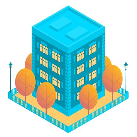 Apartment building of blue color with several floors. Flat roof. Near autumn yellow trees and street lamps. Around a square fence. Vector isometric illustration with isolated background.