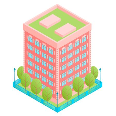 Apartment building of red color with several floors. Flat roof. Near green trees and street lamps. Around a square fence. Vector isometric illustration with isolated background. Illusztráció