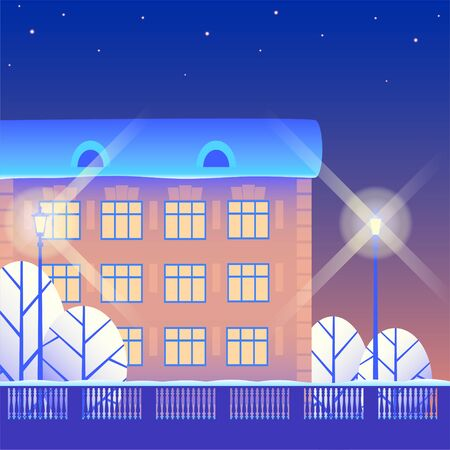 Winter snowy city at night under the stars. Residential building with three floors, white trees and luminous street lamps. Vector illustration.