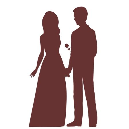 Silhouette of a bride and groom. They hold hands, he gives the girl a rose. Vector illustration for a wedding on an isolated background.