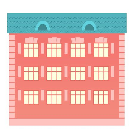 Residential building with three floors and a red facade. The view from the front side. Vector illustration of a flat object isolated from background.
