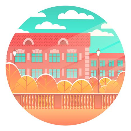A beautiful city street with residential buildings and yellowed trees. Sunny day with clouds. Vector round illustration.