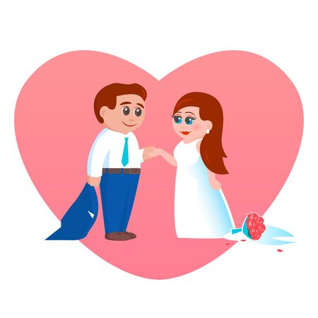 Happy newlyweds after the wedding were left alone for the wedding night and love. Hold hands. A bouquet of roses on the floor. Vector romantic illustration on heart background. Illustration