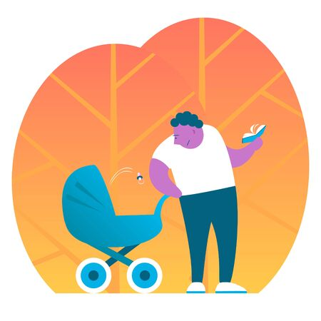 Good father with a pram on a background of autumn trees. The kid spat out a pacifier and dad distracted from reading a book. Vector cartoon funny illustration.