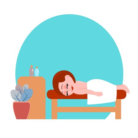 A beautiful girl lies on a couch in a massage parlor. She is covered with a towel. Near flowers and a table with aromatic oils. Vector cartoon illustration.