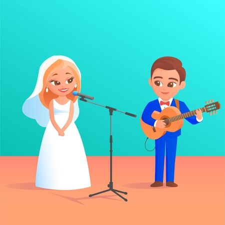 A newlywed couple give a music concert. Beautiful blonde bride in a wedding dress sings into a microphone. The groom in a tuxedo plays the guitar. Vector cartoon funny illustration.