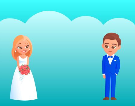 Young cartoon newlyweds on their wedding day. The bride in a white dress with a bouquet of red roses, the groom in a blue tuxedo. There is a happy smile on their faces. Vector illustration.