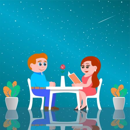 Lovers man and woman are sitting at a table in the space cafe of the future. Outside the window, the starry sky and the Milky Way galaxy. Vector cartoon illustration.