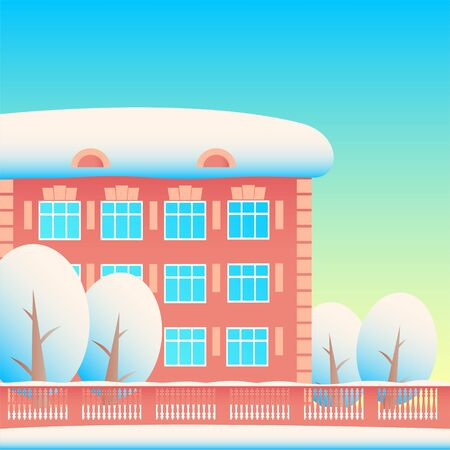 Winter city street: residential building; trees and patterned fencing. Everything is in the snow. Blue sky. Vector cartoon illustration for background. Illusztráció