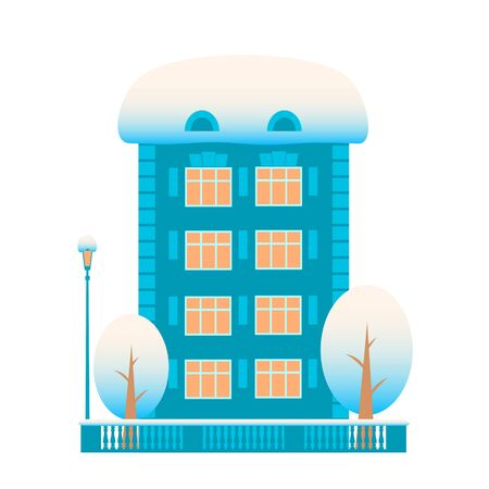 Residential blue building with two trees and a street lamp. Everything is in the snow. Concept on a winter theme. Vector isolated flat illustration. Illusztráció