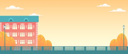 Background of the autumn city. Residential building, yellow trees, patterned fencing, clouds in the sky. Vector flat illustration in the form of a banner.