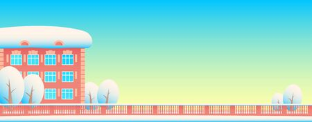 Winter city street: residential building; trees and patterned fencing. Everything is in the snow. Blue sky. Vector flat illustration for background in the form of a banner. Illusztráció