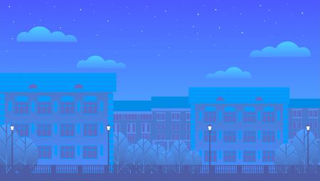 Night sleeping city for the background in the form of a banner. Residential buildings, trees, street lamps, clouds and starry sky. The light in the windows is off.
