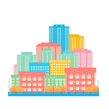 Colorful autumn city. Skyscrapers are painted in a different palette: red, blue, yellow, green, pink. Vector isolated illustration. Abstraction in a flat style.