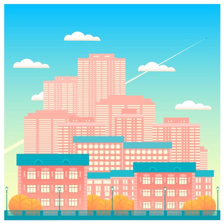 Autumn big city with skyscrapers. Against the background of a blue sky with clouds, an airplane flies. Flat color vector illustration in the form of a square.