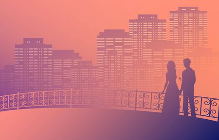 Silhouette of a couple in love on a bridge with patterned railing. A man gives a woman a rose. In the background the night city in the fog. Vector romantic illustration.