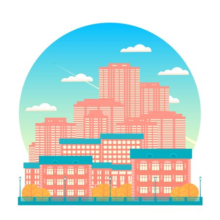 Autumn big city with skyscrapers. Against the background of a blue sky with clouds, an airplane flies. Flat isolated vector illustration.