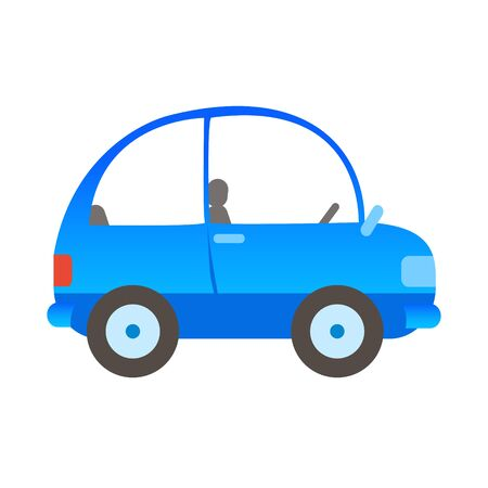 Drawn passenger car in blue without people. Vector isolated illustration in cartoon style. Side view.