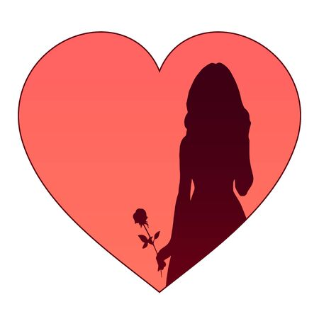 Dark silhouette of a beautiful girl with a rose on a background of red hearts.