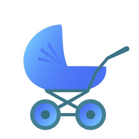 Classic high pram for babies. Blue color, side view. Illustration