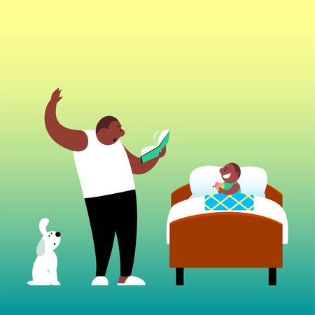 Father before going to bed with enthusiasm reads a book to his son. The child sits in bed with an apple and listens with interest. African American family. Cartoon funny vector illustration.