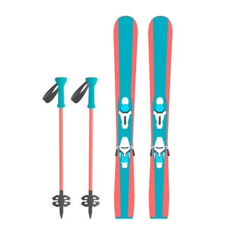 A pair of alpine skis and sticks for winter sport.